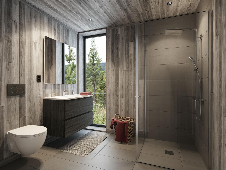 3D Visualisering for Moderne Hytter AS | Interiør - Bad