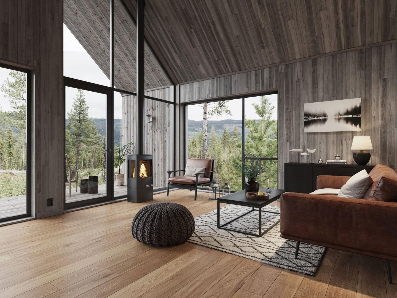 3D Visualisering for Moderne Hytter AS   Interiør - Stue